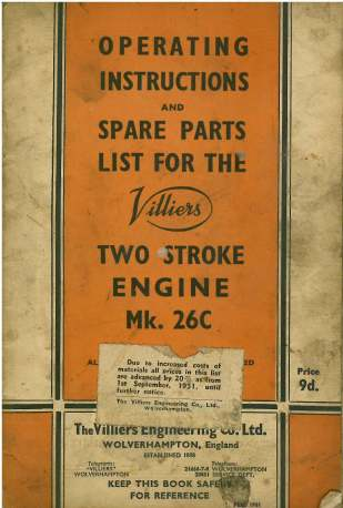 Villiers Mk 26C Two Stroke Engine Operators Manual with Parts List